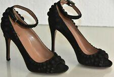 NEW Alaia Suede Pumps Peep Toe Black Ankle Strap Bubbles Heels Shoes 36.5