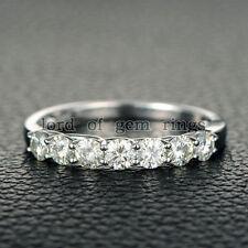 14K White Gold Wedding Band Ring 3.5mm Round Charles & Colvard Moissanite