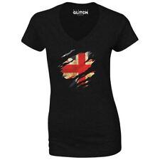 Womens Torn UK Flag V-Neck T-Shirt country British retro fashion sport pride