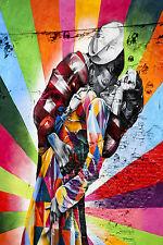 "24"" Framed Canvas USA sailor kiss Banksy painting Street Art Graffiti wall decor"