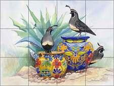 Ceramic Tile Mural Backsplash Libby Southwest Quail Bird Agave Art SLA012