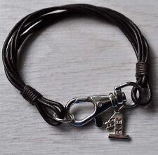 Real Leather Wristband Bracelet & Rhodium Plt #1 Mum Charm, Mummy Mothers Gift