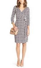 DVF Diane Von Furstenberg NEW JULIAN TWO Silk Wrap Dress Canning Mocha Brwn $365
