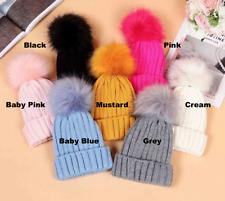 1e91b675ac4 Kids Baby Winter Warm Knit Beanie Hat Girls Faux Fur Pom Bobble New Cap  Ribbed
