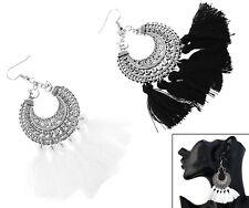 Fashion Boho Dangle Earrings Women Lady Tassel Fringe Party Jewelry Gift White