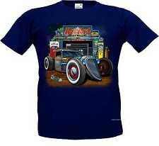 T Shirt navy blue V8 Old school Hot Rod-&`50 Style Emotiv Model Rat Rod Garage