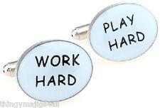 PAIR OF NEW WORK HARD PLAY HARD CUFFLINKS SHIRT NOVELTY JOBS SPORTS GYM PARTY
