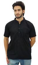 vêtements ethniques chemise courte col mao en coton noir hommes Atassi