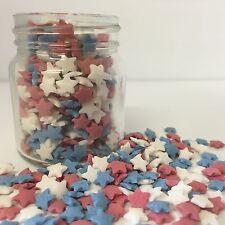 Rojo Blanco y Azul Estrellas de azúcar de zarzamora cupcake decoraciones GB EE. UU. 4th de julio