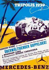 1939 Tripoli Libya Grand Prix Mercedes Benz Motor Racing  Poster A3 Print