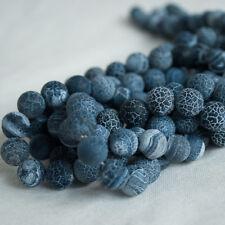 Black Crackle Agate Givré Mat Gemme Perles Rondes - 4 mm 6 mm 8 mm 10 mm
