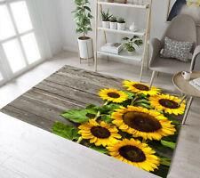 Rustic Wooden Boards Blooming Sunflowers Area Rugs Bedroom Living Room Floor Mat