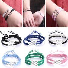 Women Man 2pcs Hand Woven Infinity Braided Wristband Bracelet Bangle Lover Gift