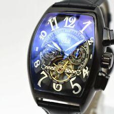 Tourbillon Automatic Mens Watch Leather Sport Rectangle Swiss Date Sapphire Dial