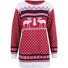 Ladies Christmas Knitted Aztec 2 Reindeer Fairisle Pullover Sweater Jumper