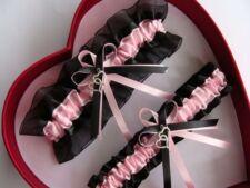 NEW Baby Pink Black Wedding Garter SELECT Single,Set,Reg+Size,Charm
