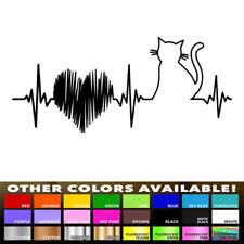Heartbeat Cat Kitty Lifeline Decal Sticker for Car Window Wall Macbook Laptop