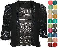 Womens Crochet Knitted Short Sleeve Shrug Ladies Cardigan Bolero Top Plus S-XL