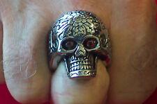 """""""Large"""" Stainless Steel Skull Ring Red Eyes-SR4005-J"""