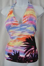 Mudd Pink/Lilac/Orange Palmtree Sunset Scene Tankini Swimsuit Top MSRP $32