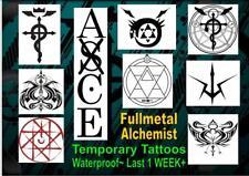 FULLMETAL Alchemist cosplay anime  X2 Temporary Tattoos WATERPROOF last 1 WEEK+