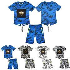 Boys NY NEW YORK BROOKLYN T-Shirt Top Army Camo Camouflage Shorts Set 3-14 Years
