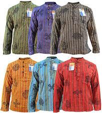Men's Stonewashed Grandad Om Comfy Casual Long Sleeve Hippie Boho Shirts Tops