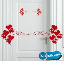 Herzen mit Namen Wandtattoo  Aufkleber Deko Valentinstag Liebe Hochzeit