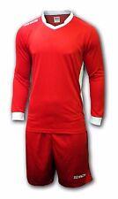Ichnos adult football soccer team kit uniform shirt shorts red white long sleeve