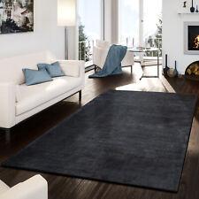 Teppich Handgemacht Modern Viskose Glanz Hoch Tief Optik Meliert Anthrazit
