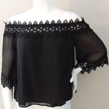 C.O.C. Crochet Lace Off the Shoulder Layered Top Blouse Black - Plus 1XL 3XL New