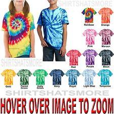 Youth Tie Dye T-Shirt Spiral XS,S,M,L,XL Boys Girls Kids Tye Died NEW
