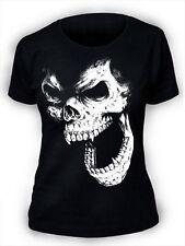 SKULL t-shirt screenprinted Da Donna Goth Rock Punk Horror Vampiro Gotico Donna