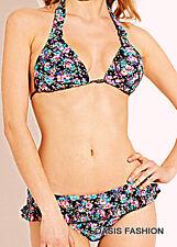 Jessica Simpson Womens swimsuit bikini skirted halterBlue floral S M L tag