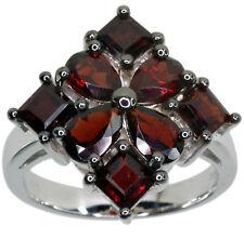 Garnet Gemstone Square Cluster Sterling Silver Ring