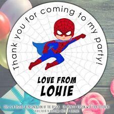 Personalised Spider Man Festa Di Compleanno Cono DOLCE Borsa Regalo Adesivo Etichetta Seal