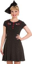 HELL BUNNY SALE POLKA DOT BUTTERFLY SCARLETT MINI DRESS BLACK RED 8-16 NEW TAGS