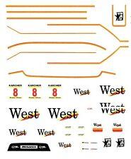 #8 West Mclaren F1 1995 1/64th HO Scale Slot Car Waterslide Decals