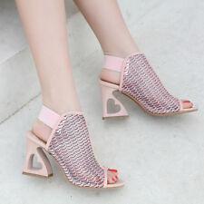 2018 Women Spring Open Toe Mid Block Heart Heels Hollow Chic Sandals Shoes New