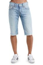 True Religion Men's Denim Cut-Off Monogram Shorts w/ Flaps in Chill Indigo