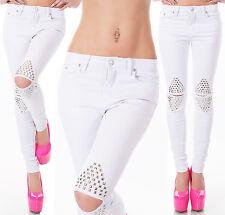 sexy de mujer Hipster Blanco Ajustado Fino Vaqueros con privets.uk 6.8.10.12.14