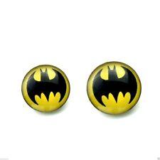 Ear Studs Batman Superhero Black On Yellow Bat Earring Piercing Pins 8mm 10mm