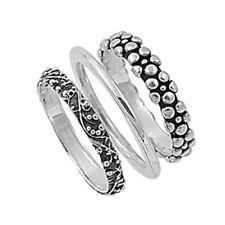 Sterling Silver Woman's Bali Plain Nugget 3 Ring Set Beautiful Band Sizes 3-14