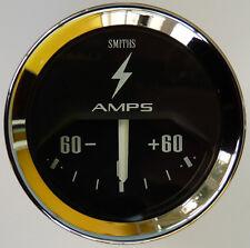 Smiths Coche Clásico 60-0-60 Amperímetro Calibre Bisel Cromado & Negro Cara Para MG Mini