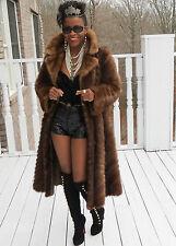 Elegant Classy Full Length Whiskey brown Mink Fur Coat Stroller Jacket S-M 2-10