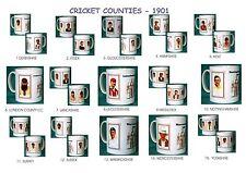 CRICKET 1901.ENGLISH COUNTIES.. MUGS..15 DESIGNS.NEW.BNIB