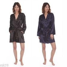 Womans Sexy Satin Kimono Wrap Short Dressing Gown Bath Robe Nightwear New S-XL