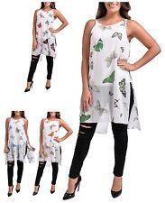 BNWT Ladies Chiffon Sleeveless Summer Dress Sizes 10-26 Butterfly Print