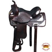 "14"" 15"" 16"" 17"" Western Horse Saddle Leather Treeless Trail Barrel Hilason O100"