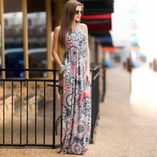 Ladies Summer Plus Size Flower Pattern Sleeveless Pocket Temperament Long Dress